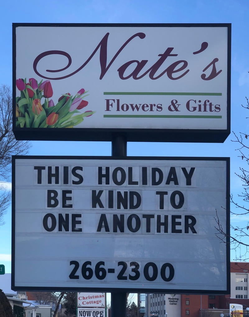 Check out the Nate's Flowers & Gifts sign!