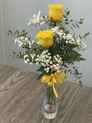 2 Yellow Rose Bud Vase from Nate's Flowers in Casper, WY