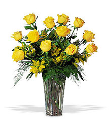 A Dozen Yellow Roses from Nate's Flowers in Casper, WY